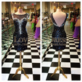 Cocktail Dress Scoop Neck Cap Sleeves Sparkly Beading Party Dress Sheath Knee Length Robe De Cocktail Short Prom Dress