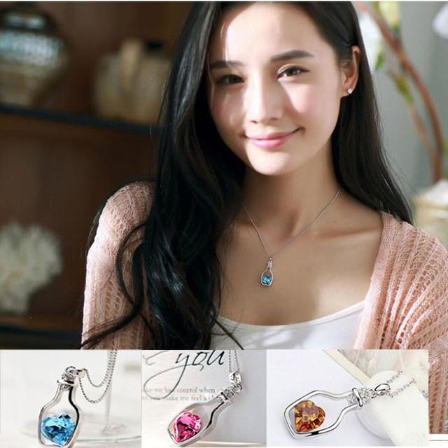 Sunstone Bottled contain hart shape stone Necklaces 6