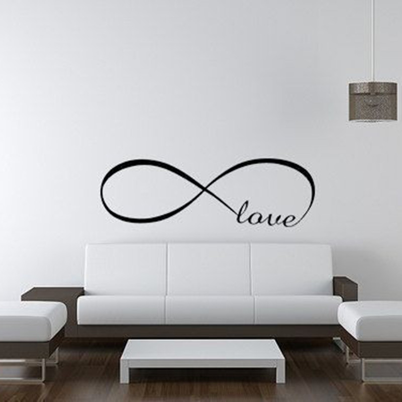3D Personalized Infinity Symbol LOVE Wall Stickers For Bedroom Adhesive Wall Decal Quotes Vinyl Butterflies Waterproof Wallpaper