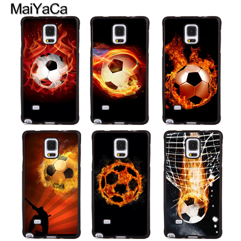 MaiYaCa Fire Football Ball Soccer Soft Rubber Phone Cases For Samsung Galaxy S5 S6 S7 edge plus S8 S9 plus Note 4 5 8 Back Cover