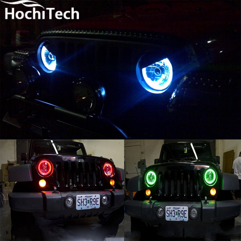 for Jeep Liberty KJ 2000 2001 2002 2003 2004 2005 2006 2007 RGB LED headlight rings halo angel demon eyes with remote controller free shipping vland factory for is200 is300 led headlights 2001 2202 2003 2004 2005 angel eyes plug and play