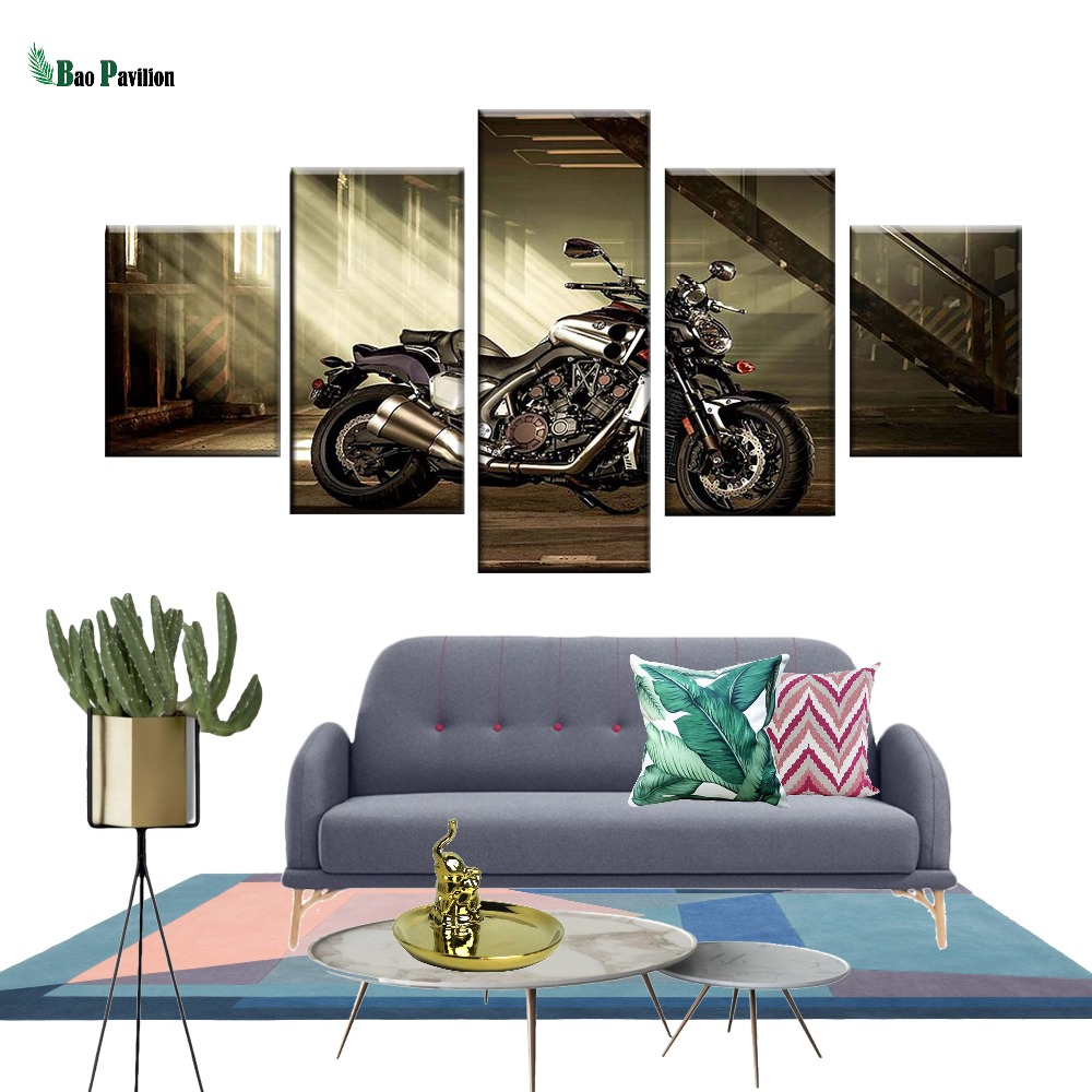 Modular Pictures HD Prints Home Decor 5 Pieces Bedside Background Wall Art Motorcycle Canvas Painting Artwork Creative Poster in Painting Calligraphy from Home Garden