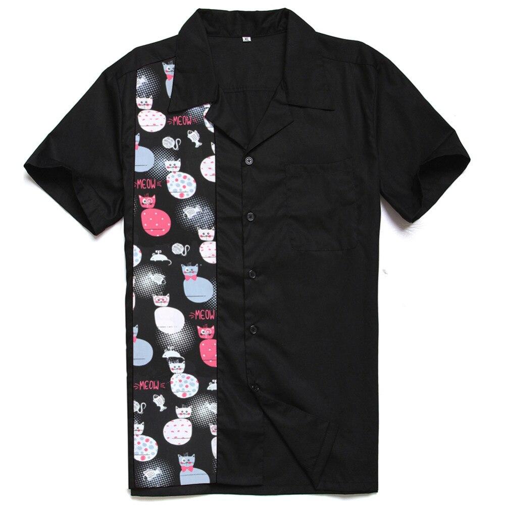 Мужская одежда 2018 хлопок Гавайский забавные мяу печати Панель рок н ролл Повседневное Charley Harper Вдохновленный последние рубашка Дизайн для м