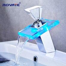 ROVATE свет бассейна кран ванная комната кран-водопад температура изменить цвет одно отверстие бортике раковина