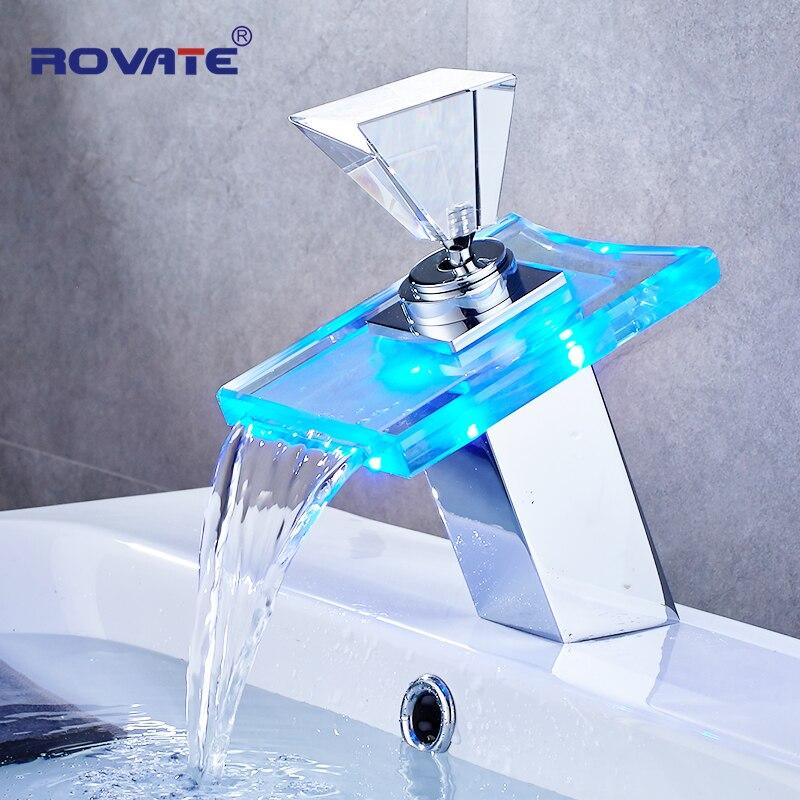 ROVATE lumière LED robinet de lavabo salle de bain cascade robinets changement de température couleur monotrou pont monté robinet de lavabo