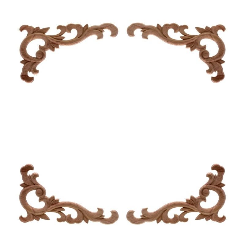 RUNBAZEF Vintage Unpainted Wood Carved Decal Corner Applique Frame For Home Wall Cabinet Door Decorative Wooden Miniature Craft
