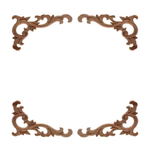 Carved-Decal Applique-Frame Decorative Miniature-Craft RUNBAZEF Unpainted Wood Wooden