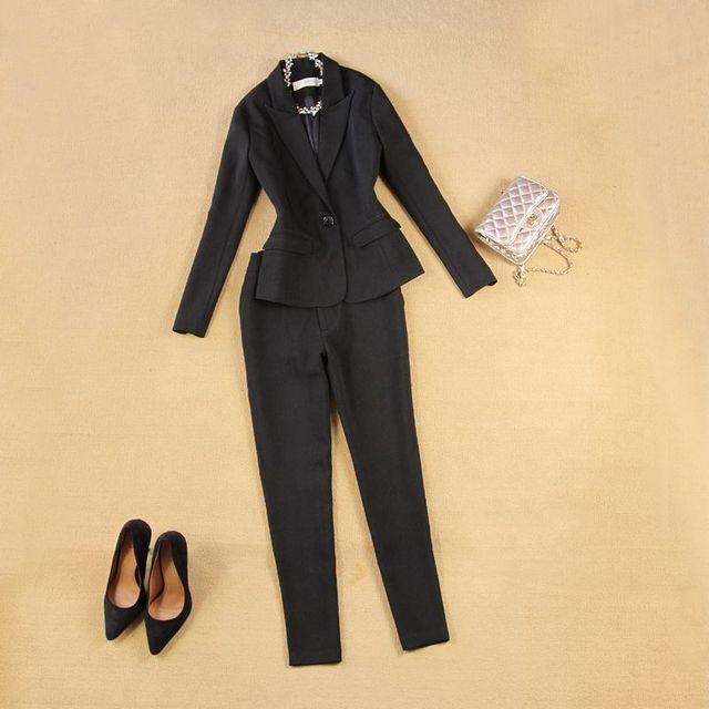 2017 moda estilo OL mulheres pant ternos terno formal do negócio desgaste completo manga único botão blazer femme terno casaco fino 022806