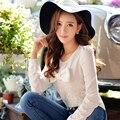 Original 2016 Brand Spring and Autumn Plus Size Slim Retro Shirt Bow Long Sleeve O-Neck White Blouse Women Blusas Wholesale