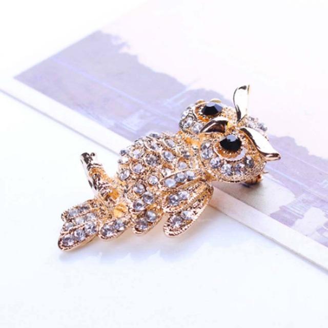 Ancient Women's Men's Owl Korean Zinc Alloy Trendy Imitation Rhinestone Blue Brooch Badge Christmas Gifts Accessories