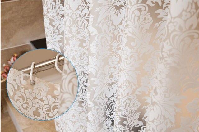 Semitransparent Vine Pattern Mildew Proof PEVA Bathroom Shower Curtain Waterproof Bath With Hooks