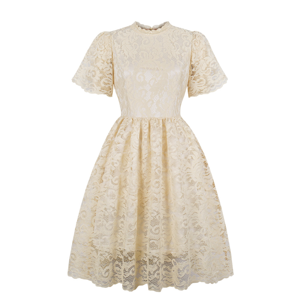 2019 Plus Size Lace Vintage 60s 50s Dress Short Sleeve Beige Retro Hepburn  Style Party Lace Big Swing Dress Robe Vestidos Femme 2019 From Macloth, ...