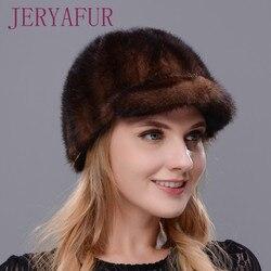 Новая модная и теплая шапка для женщин, шапка из натурального меха норки высокого качества, шапка из норки с карнизом, блокирующая снег, дост...