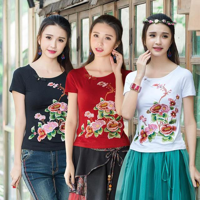 Vintage 70s Design Short Sleeve White Red Black Floral Embroidery t-shirt 2017 Mexican Style Ethnic T Shirt For Women Top