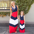 Summer Mother Daughter Dresses Sleeveless Long Dresses outfits Baby Girls Women Cotton Maxi Dresses family matching clothes