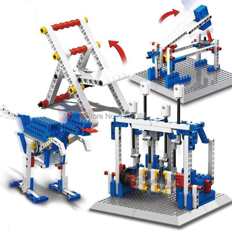 296 pièces Briques 4 en 1 Machines TIGE Blocs De Construction Moteur Marteau À Percussion Dinosaure Jouets Éducatifs Scientifiques