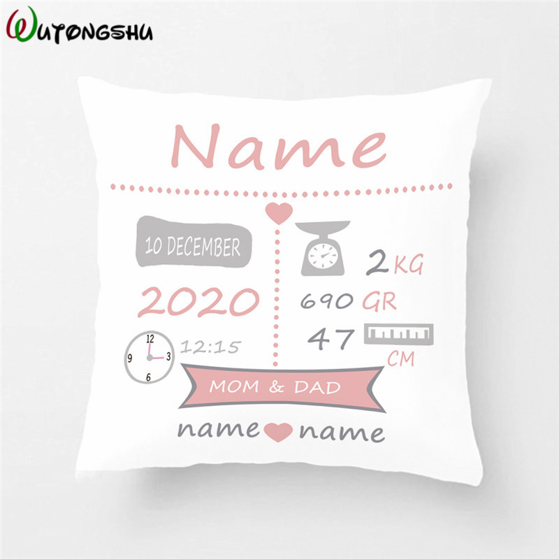 Baby Birth Gift Pillow Cases Personalized Birth Stats Pillow Cover Nursery Pillow New Baby Cushion Cover Children Chrismtas Gift