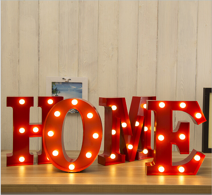 Romantic Customized LED Business Signs Metal lamp Bulb Letters Lighting Logotype for Valentines Day