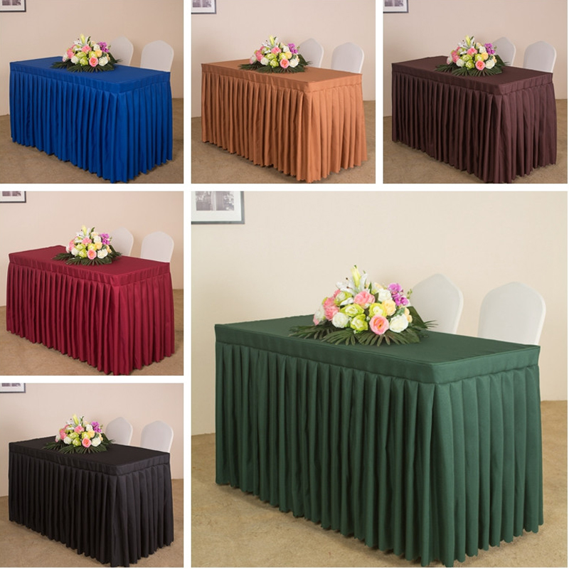 Hotsale Christmas table cloth Customized polyester cover decoration colors skirt swag pleated style made together wedding hotel цена 2017