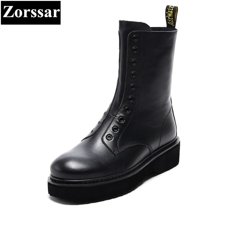 {Zorssar} 2017 New Autumn Winter Genuine Leather Fashion flat Heel women Mid-Calf Motorcycle boots Woman Casual Platform Boots double buckle cross straps mid calf boots