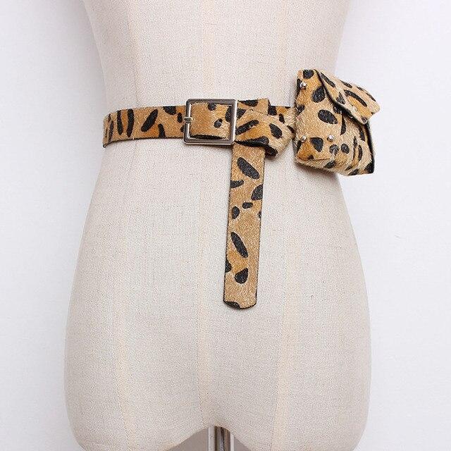 WKOUD EAM joyería/2018 nueva moda negro Leopard Mini Pu cuero cinturón bolsillos doble propósito accesorios de las mujeres SC25701