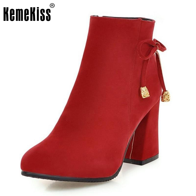 Women Elegant Thick Heel Ankle Boots Fashion Woman Pointed Toe Heels Shoes Ladies Brand Party Court Shoes Botas Mujer Size 33-42 цены онлайн