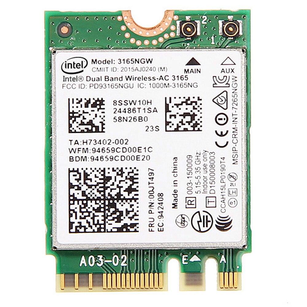 Intel Original Беспроводной AC 3165 3165 AC 3165NGW NGFF Dual Band BT4.0 2.4 г/5 г 433 м Беспроводной сетевой карты ноутбука сетевой карты