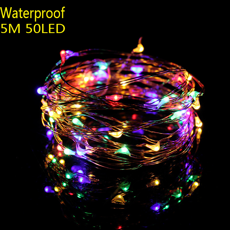 String led lights 5M 50led 4 5V USB powered outdoor copper wire for Xmas Garland Party