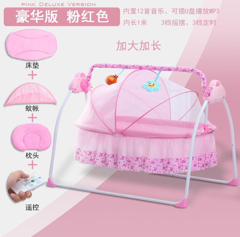 Large Electric Baby Cradle With Music Sleeping Artifact Portable Foldable Crib Baby Rocking Chair Baby Bassinet