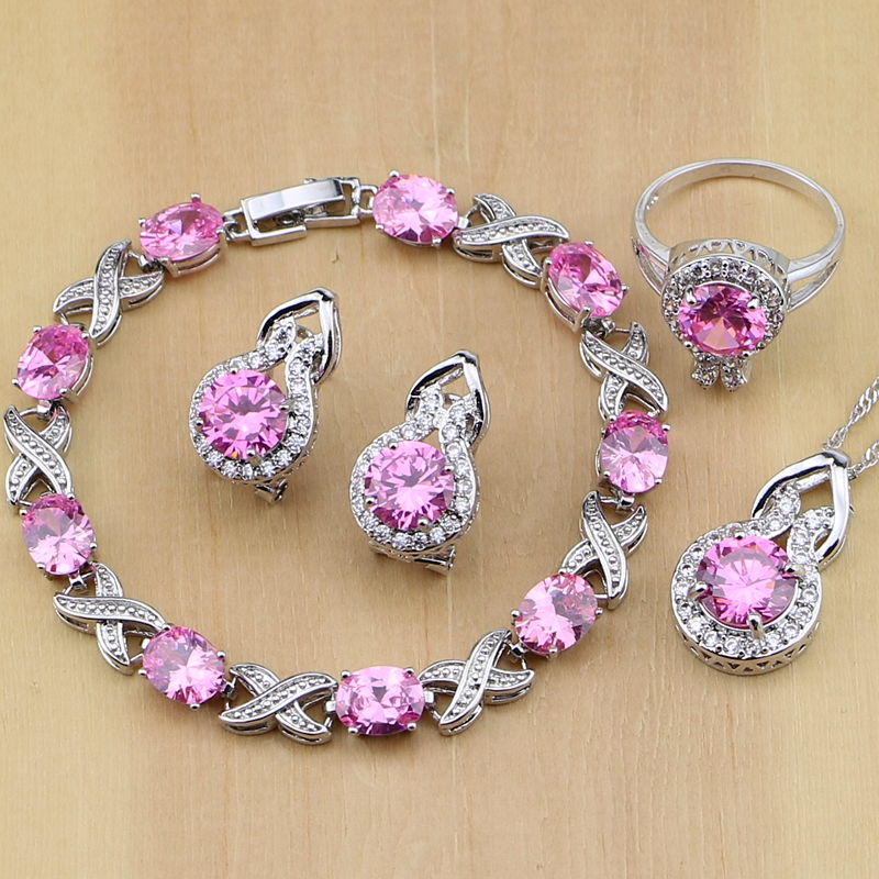 Lovely Pink Cubic Zirconia 925 Silver Jewelry Sets For Women Wedding Earrings/Pendant/Necklace/Rings/Bracelet