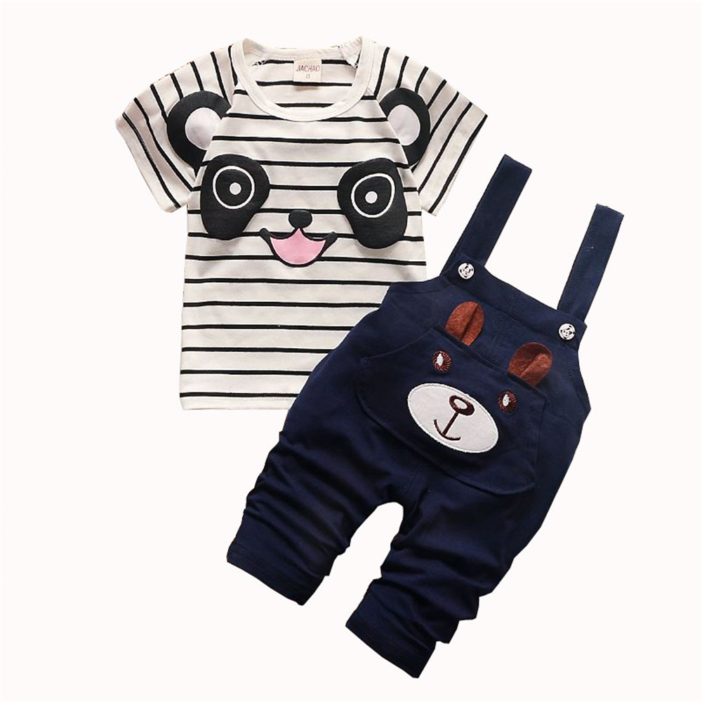 BibiCola Baby Boy Summer Clothing Set Toddle Children Boys Clothes Set Top+Bib Pants Panda Printed 2pcs Outfits Bebe Sport Suit bibicola baby boys summer clothing set children t shirt short pants 2pcs kids clothes boy tracksuits costume for boys child suit