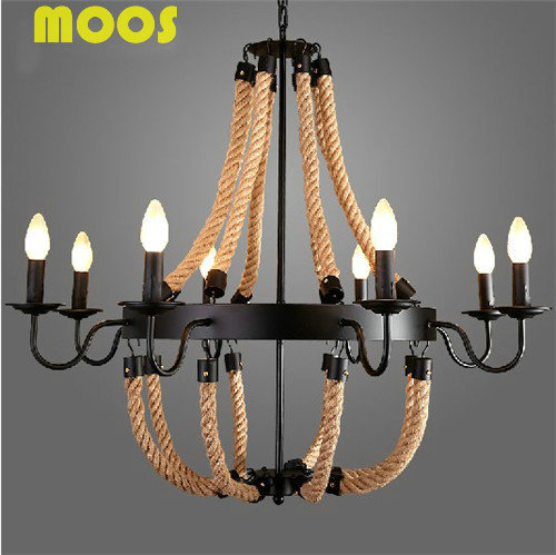 Loft  Nordic retro creative pastoral clothing store cafe hemp rope chandelier American country droplight E14 Edison bulb
