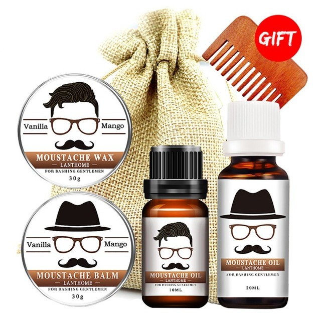 100% Natural Beard Growth Oil/Wax Set Berad Care Moisturizing Modeling Organic Beard Conditioner Styling