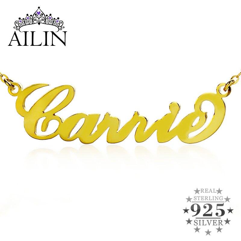 Ailin personalizado nome personalizado pingente colar gargantilha cor de ouro prata carrie font placa de identificação colar feminino jóias presente