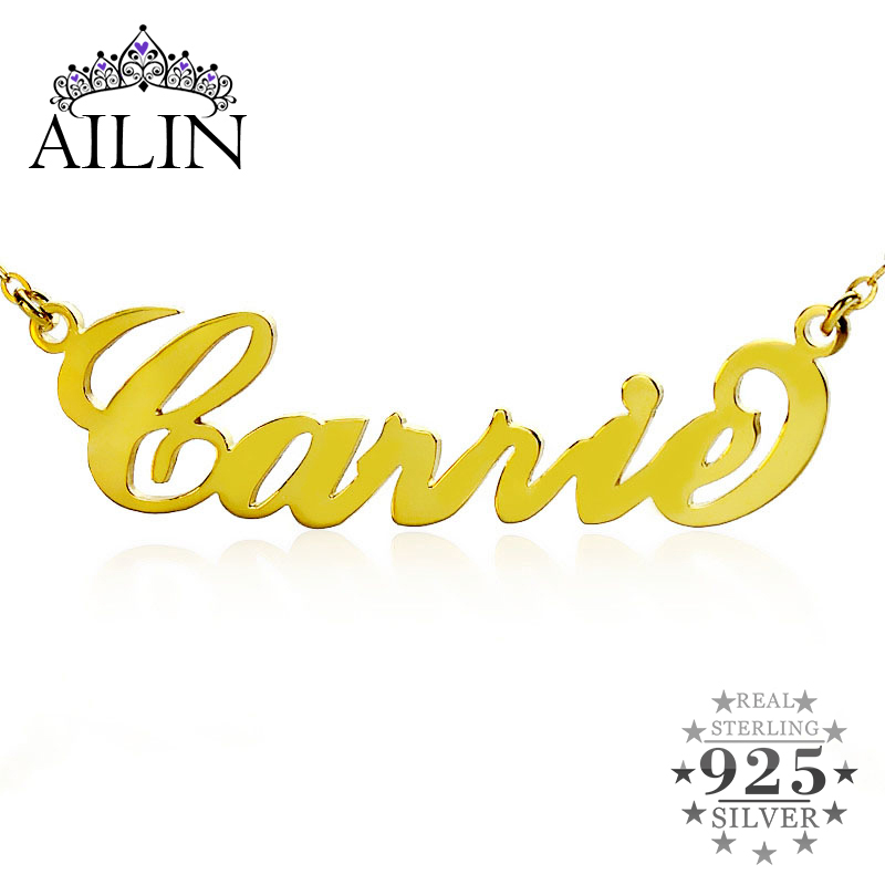 Personalized Name Necklace Gold Color Over Silver Initials CARRIE Font Customized Name Jewelry Great Gift