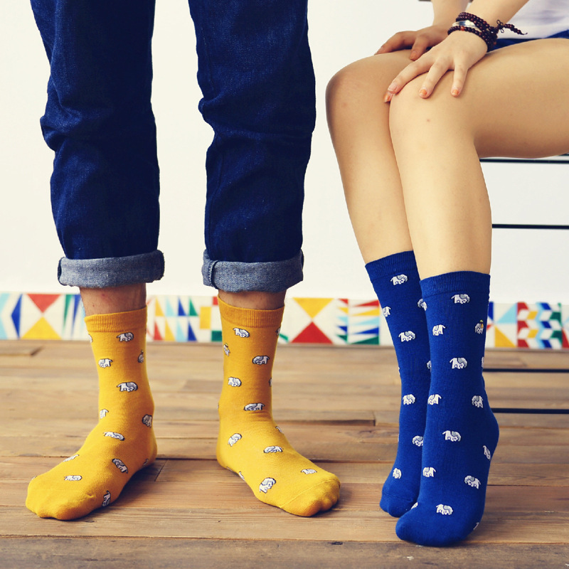 2018 Fashion New Elephant Pattern men/women Socks Cotton Creative Fun Cute Casual Harajuku Fun Design Blue men/women crew socks