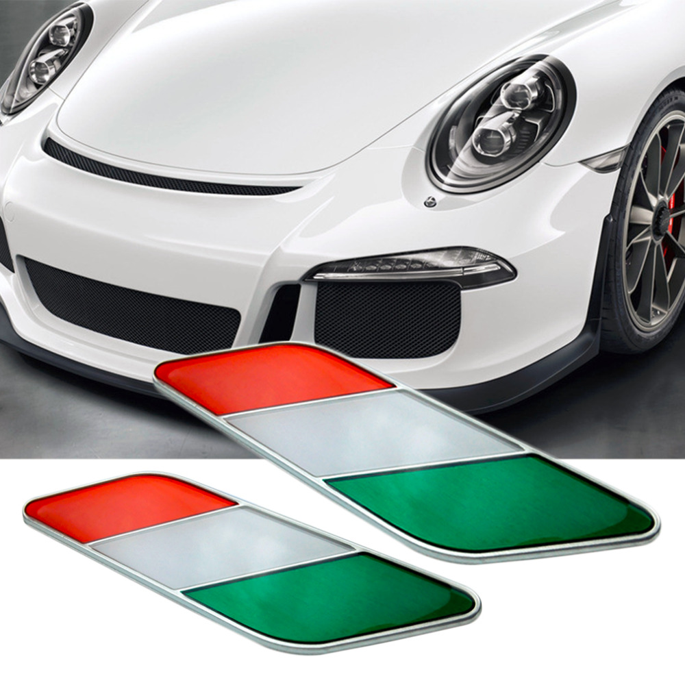 Design car flags - Car Styling Italian Flag Pattern Leaf Shape Stickers Decal Car Window Door With Box Hot Selling