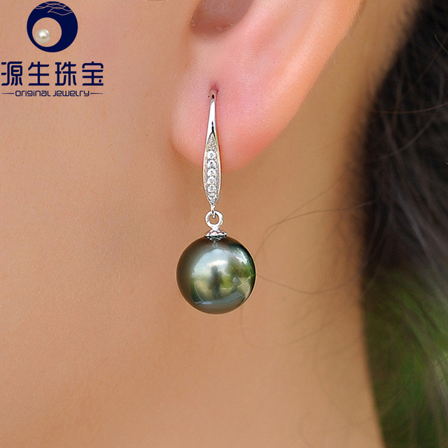 Ysetb008 Cultured Pearl Earrings 10 11mm Perfect Round Tahitian Black Dangle With 18k