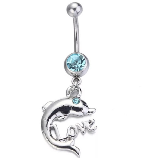 Us 1 5 20 Off Fashion Surgical Steel Cute Animal Dolphins Navel Rings Navel Bars Silver Crystal Belly Button Ring Navel Body Piercing Jewelry On