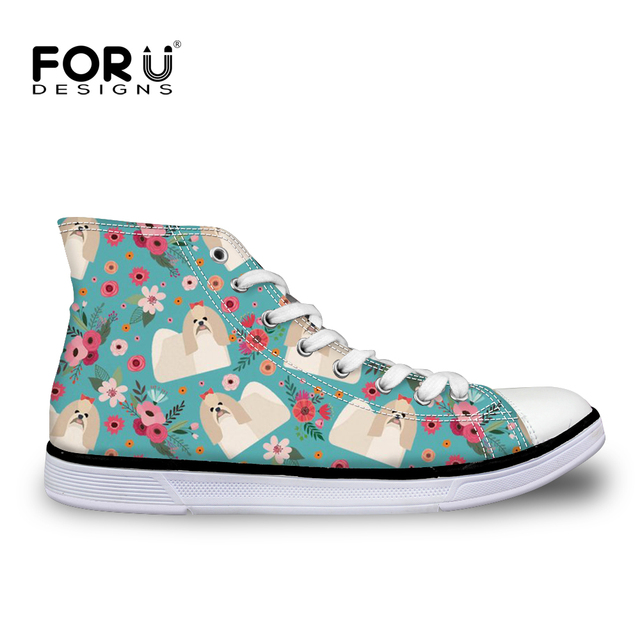 bf32f4992e FORUDESIGNS Ladies Shoes Bichon Frise Floral Printing Women Canvas Shoes  Lace-up Casual Comfortable Flats for Woman Sneaker Cute