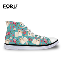 FORUDESIGNS Ladies Shoes Bichon Frise Floral Printing Women Canvas Shoes Lace up Casual Comfortable Flats for Woman Sneaker Cute