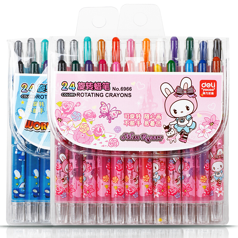 24 Colors/Set Non-Toxic Drawing Colors Rotating Crayons For Kids Stationery Art Supplies 6966 faber castell 30 colors cute creative colorful crayons connector watercolor gel pen for drawing art stationery supplies