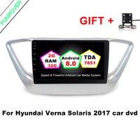 Funrover 9 pulgadas Android 8.0 2G + 32G del coche DVD GPS para Hyundai Verna Solaris 2017 Coche radios reproductor de vídeo de navegación BT wifi