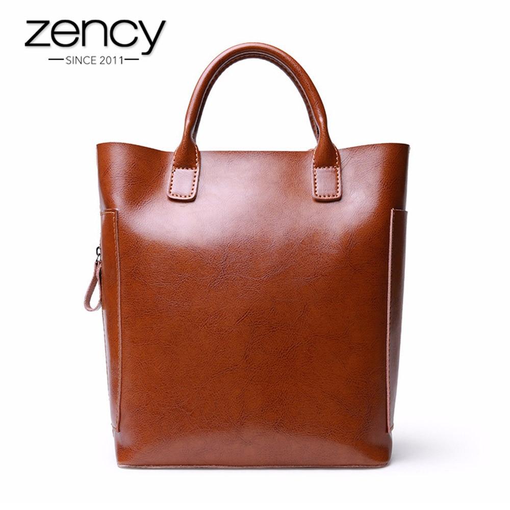 все цены на Zency Vintage Women Casual Tote 100% Real Cow Leather Top-handle Handbag Brown Lady Messenger Crossbody Purse Large Capacity Bag онлайн