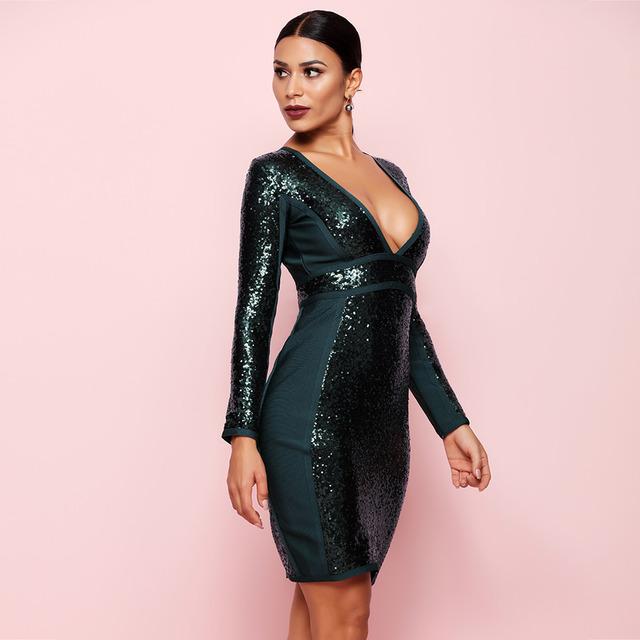 High Quality Celebrity Party Dress Long Sleeve Bodycon Bandage Dresses Spring Sequins Dress Sexy V Neck Vestidos 2018
