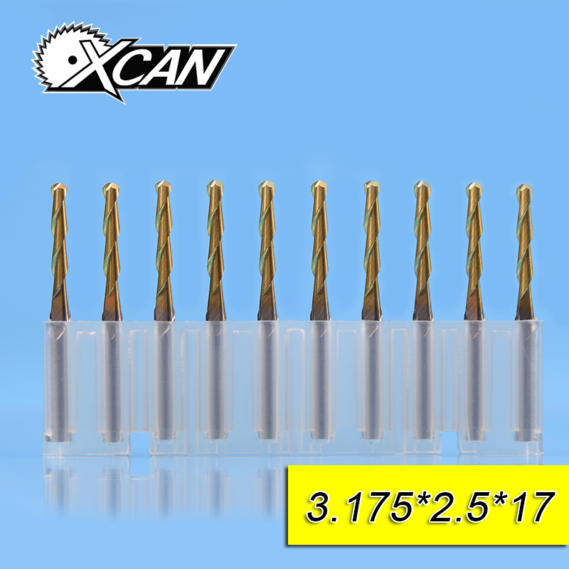 XCAN 10pcs 2.5mm Titanium coating ball nose end mills spiral router bits with 12/15/17/22mm cutting length CNC milling cutter