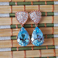 Luxurious drop earrings for evening party 8*12 mm light blue natural topaz solid 925 silver topaz eardrop set
