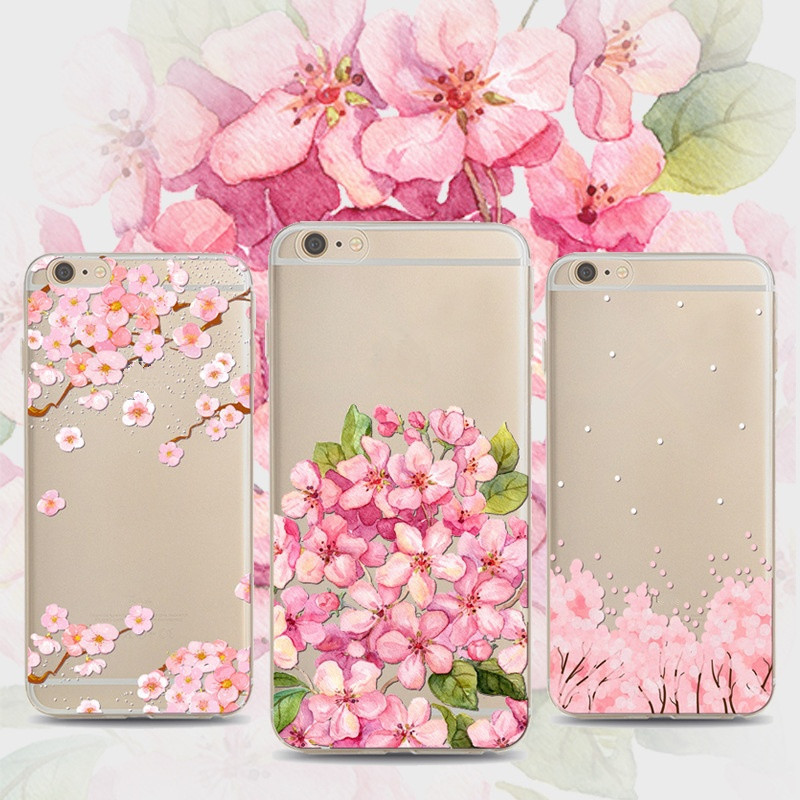 Hensongift For iphone X 7 7plus Cherry Blossom TPU Phone Case For iPhone 6 6s plus sakura soft Back Cover FOR 8 8plus ...