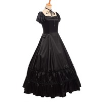Retro Civil War Gothic Lolita Satin Victorian Dress Ball Gown Black Red Party Dresses