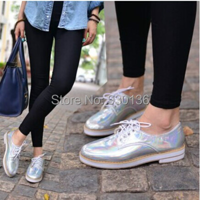 307f33a4e972 2015 Fashion Oxfords Silver Cloed Toe Lace Up Laser Leather Women Casual  Flat Shoes Fashion Block Shoes